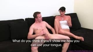 Durante il suo primo casting porno