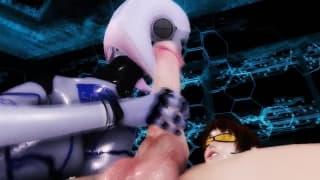 Una donna robot sega il suo cazzo oggi